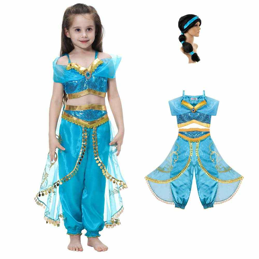 Children Anime Aladdin Princess Jasmine Cosplay Jumpsuit Girls Dance Cosplay Fancy Dress Up Party Halloween Costumes For Girls