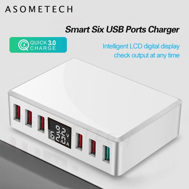 6 Ports USB Charger QC 3.0 Fast Charging Smart LCD Digital Display Multi Port Travel Charger Station Quick Charge USB Charging