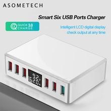 Cargador USB con 6 puertos QC 3,0, carga rápida, pantalla LCD Digital inteligente, estación de carga de viaje, multipuerto