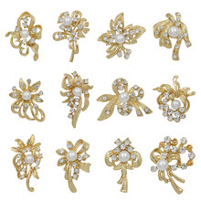 Set of 12 Pieces Wholesale Crystal Bow Design Brooch Pin with Simulated Pearl For Women or Wedding Bouquets(China)
