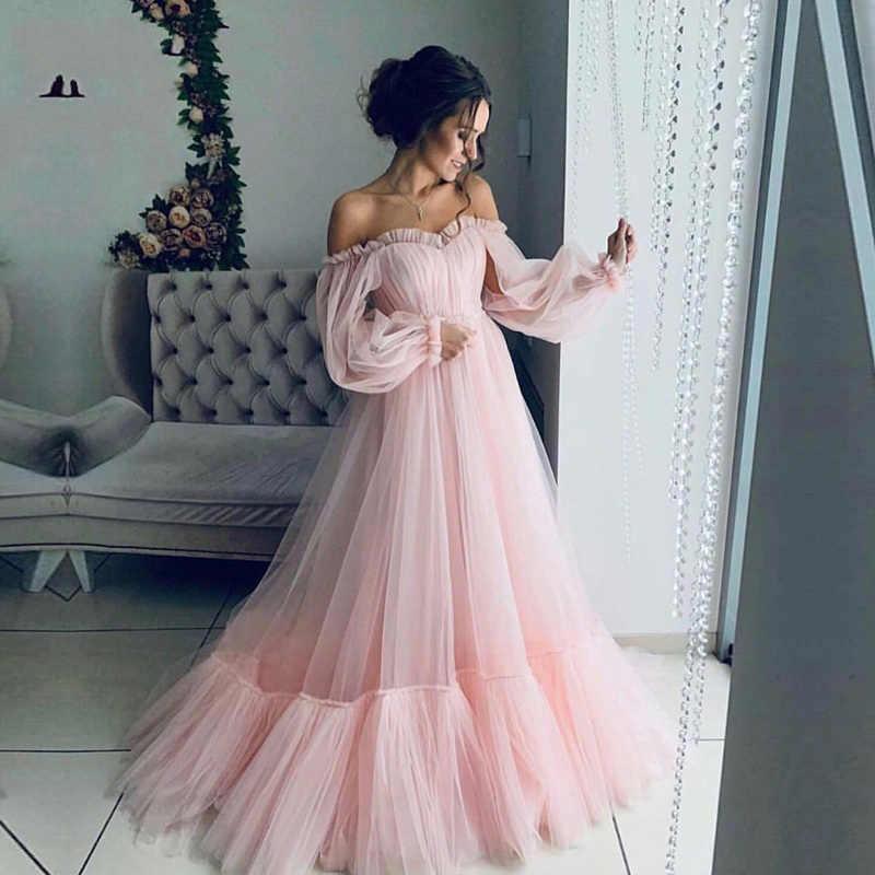 NBS017 ארוך שרוולים אלגנטי ורוד שמלת ערב 2019 זול מחיר לנשף שמלות קו תפור לפי מידה יפה בנות מפלגה שמלת 2019
