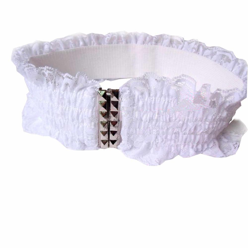 Jaycosin moda kadın dantel elastik yuvarlak geniş bant Retro Totem streç benzersiz özel yüksek kaliteli bel kemeri