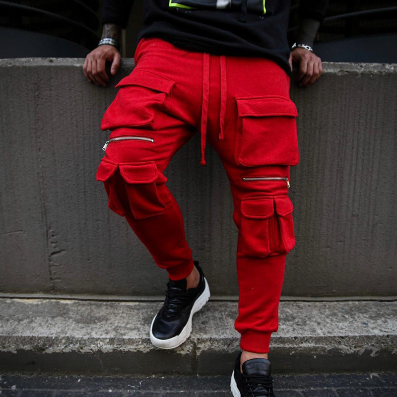 Autumn And Winter New Men's Pocket Hip Hop Solid Color Fitness Slim Fashion Casual Sports Pants Tide