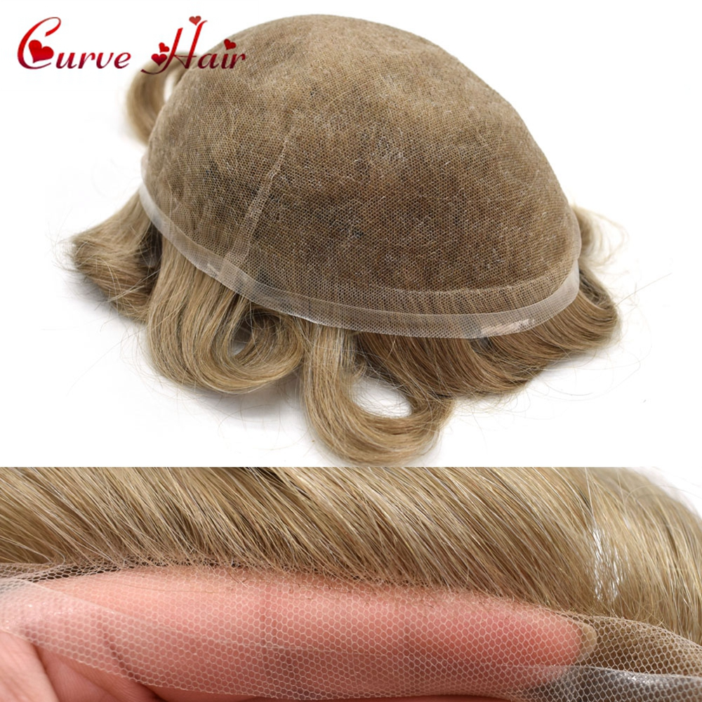 Full Swiss Lace Hairpiece All Lace Mens Toupee Human Hair Replacement Light Density 80% 90% 100% Mens Hair Systems