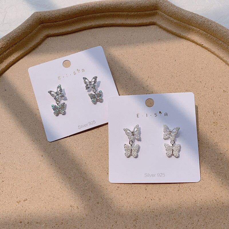 925 Silver Needle Crystal Butterfly Earrings Simple Cute Korean Female Lady Small Stud Earrings Vintage Zircon Stone Earrings