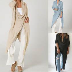 Женский асимметричный верх с длинными рукавами, блузка леопардовая, высокая низкая кромка, мешковатая туника, мешковатая длинная туника