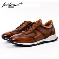 Summer Retro Genuine Leather Men's Athletic Casual Sneakers Round Toe Breathable Man Flats Sport Running Comfortable Shoes SS648