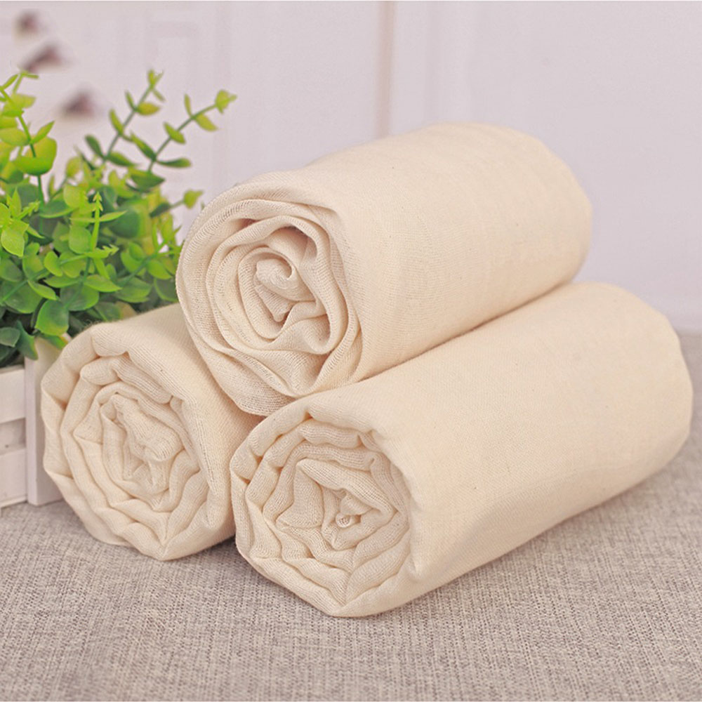 <font><b>Unbleached</b></font> <font><b>Cheesecloth</b></font> Filter Antibacterial Cotton Cloth <font><b>Cheesecloth</b></font> Gauze Natural Breathable Bean Bread Cloth Fabric 150*150CM image