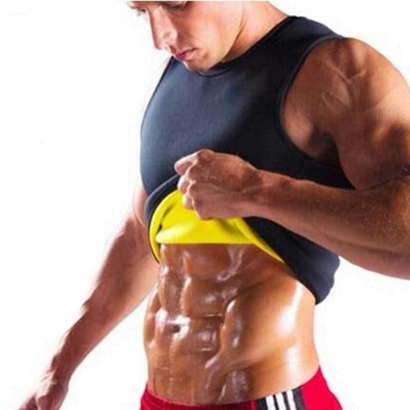 Meihuida Plus Size Black Neoprene Weight Loss Mens Solid Body Shaper Vest Slimming Fitness Waist Tops Sweat Shapwear Shirts