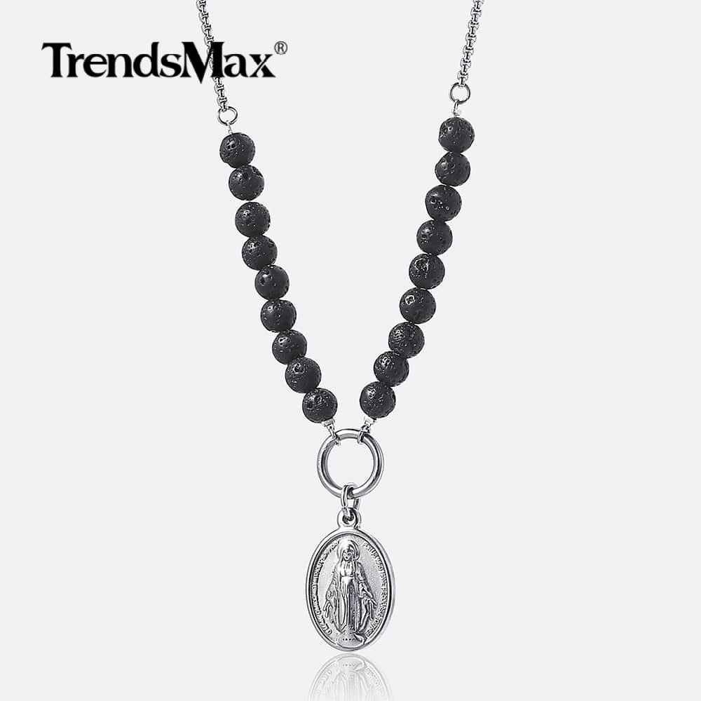 Trendsmax Virgin Mary Pendant Necklace Lava Beads For Womens Men Essential Oil Diffuser Necklace Chain Jewelry Gift DN108