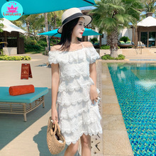 2019 new female summer foreign super fairy hanging neck word collar strapless cake  multi-layer dress