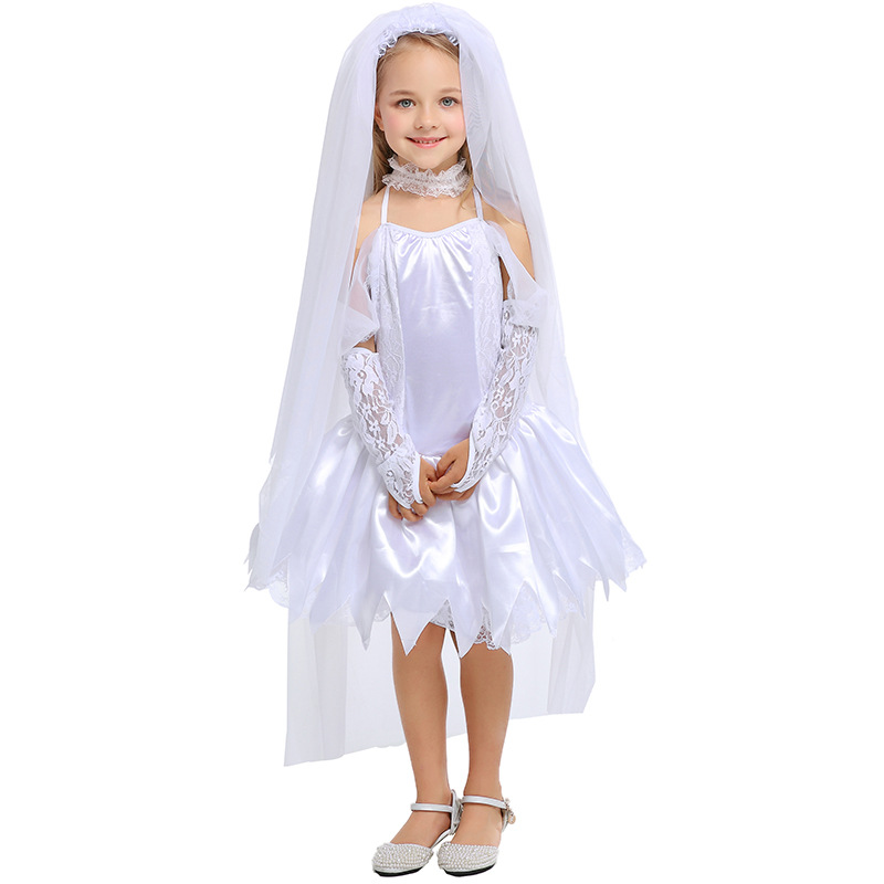 Umorden Little Bride Wedding Belle Costumes Girls White Angel Zombie Corpse Bride Costume Halloween Masquerade Party Dress