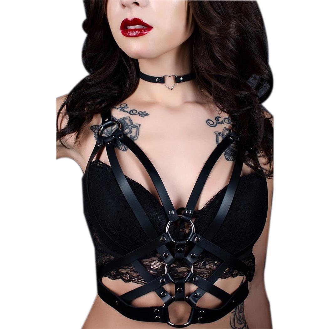 Women Sexy Lingerie Hollow Out Bandage Summer Bra Clubwear Pu Solid Leather Harness Clubwear, Nightwear Bra