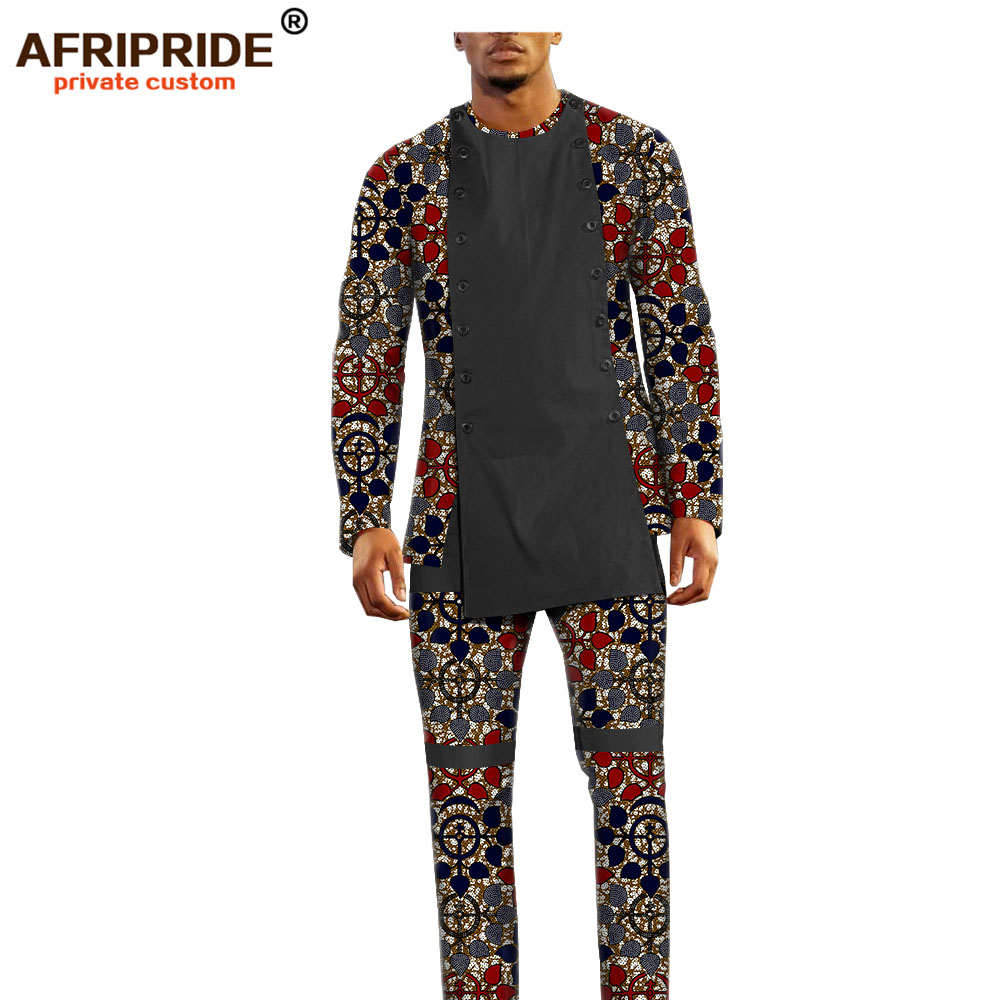 Image 4 - african ankara dashiki pants set for men AFRIPRIDE bazin richi  full sleeve top full length pants mens casual set A1816011Mens Sets