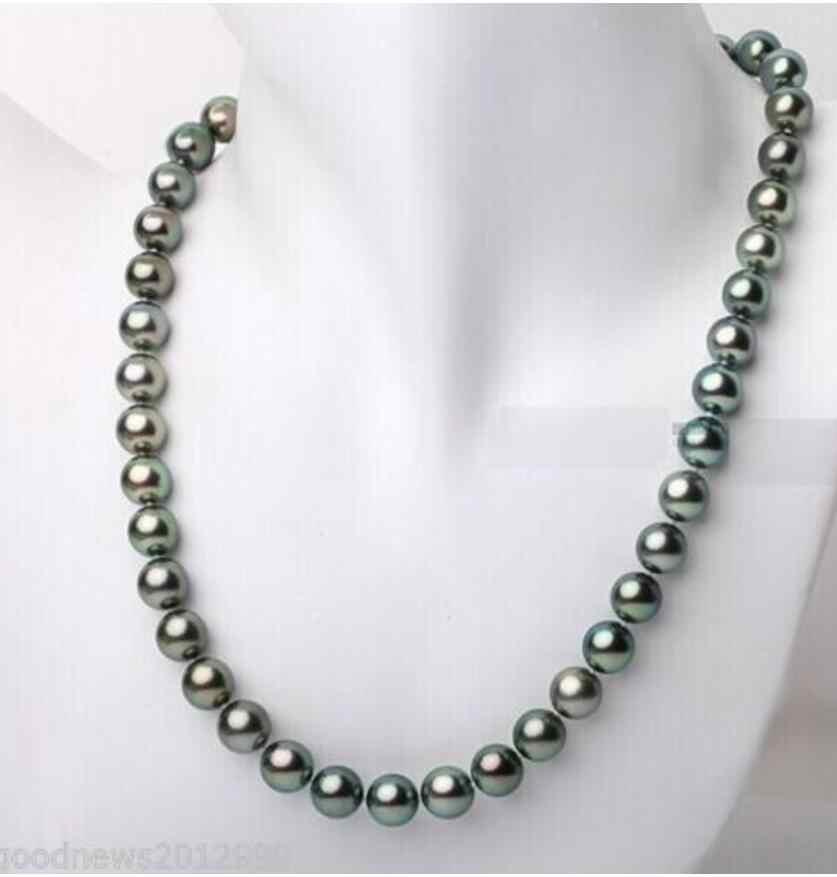 """Mode schmuck Freies Verschiffen 18 """"8-9mm Tahitian echte schwarz pfau blau grün perle halskette 925 silber verschluss"""