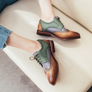 Image 2 - ผู้หญิงรองเท้าหนังOxfordรองเท้าผู้หญิงรองเท้าผ้าใบLady Brogues Vintage Casualรองเท้ารองเท้าผู้หญิง 2020 สีเขียวสีน้ำตาล