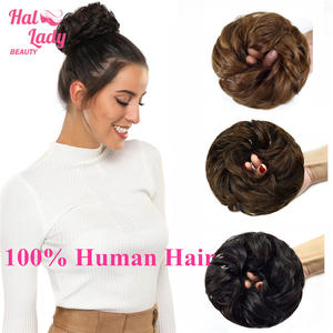 Hair-Piece Bun-Extensions Chignons Halo Human-Hair Beauty Wig Donut Updo Curly Messy