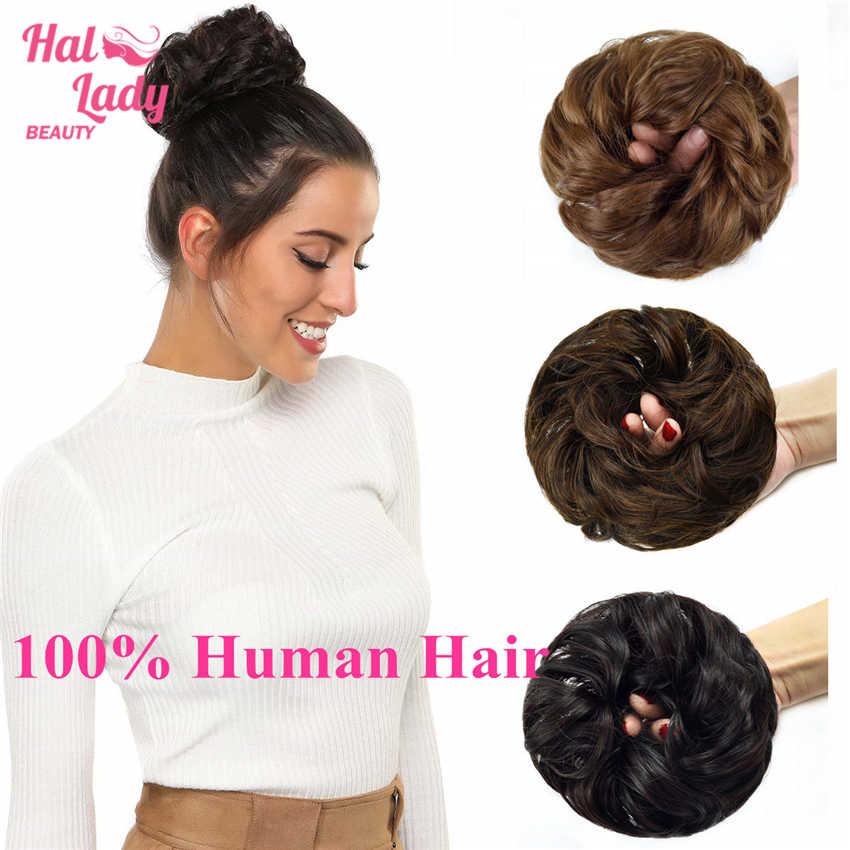 Halo bayan güzellik 100% gerçek insan saçı topuz uzatma Updo perulu kıvırcık dağınık Donut Chignons saç parçası peruk olmayan remy postiş