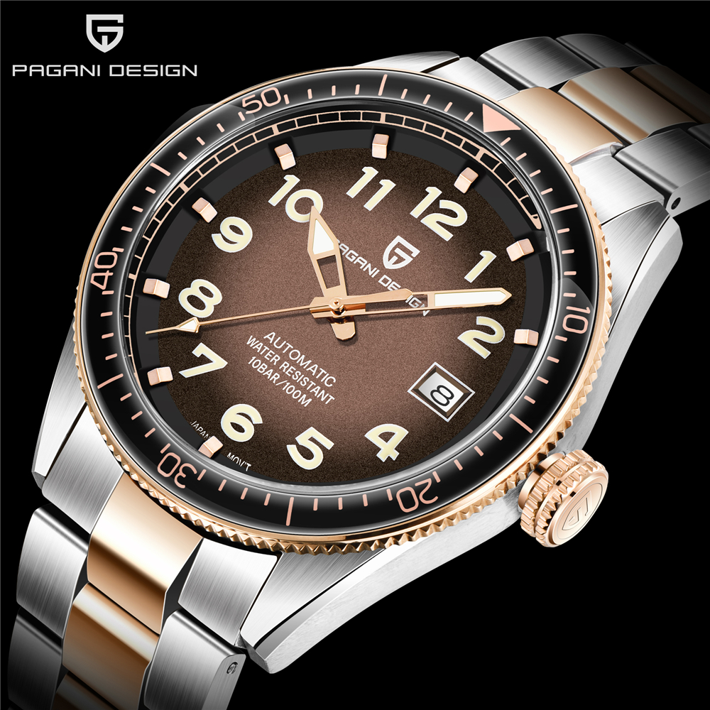 PAGANI DESIGN Mechanical watch men simple automatic mens watch waterproof 100M sport watch fashionclock NH35A Relogio Masculino