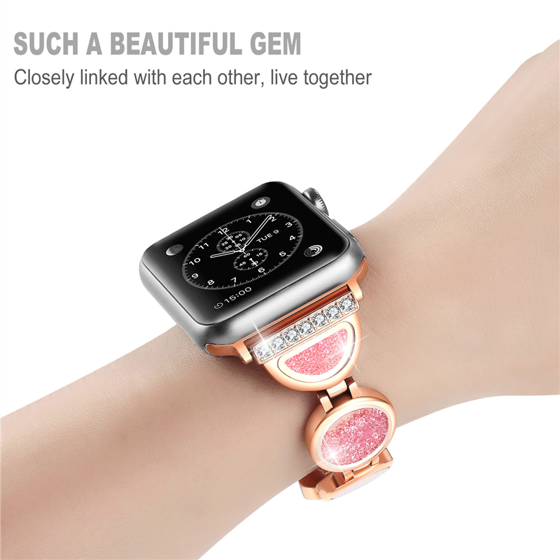Strap for Apple watch band 5 4 44mm 40mm woman Quicksand diamond correa iwatch band 3 2 1 42mm 38mm bracelet watch Accessories   Watchbands