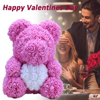 Hot 35cm Artificial Soap Rose Heart Teddy Bear For Valentine Day Birthday Party Wedding Decoration Handmade Gift Drop Shipping
