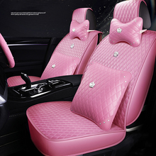 Fit Car-Seat-Cover Pink Waterproof Hyundai Auto Toyota for PU BMW Woman 4-Color Kia Universal-Size