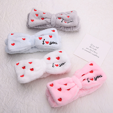 1PC Hairbands For Women Female I LOVE Letter Coral Fleece Wash Face Soft Butterfly Bow  Head Wraps Turban Hair Accessorie