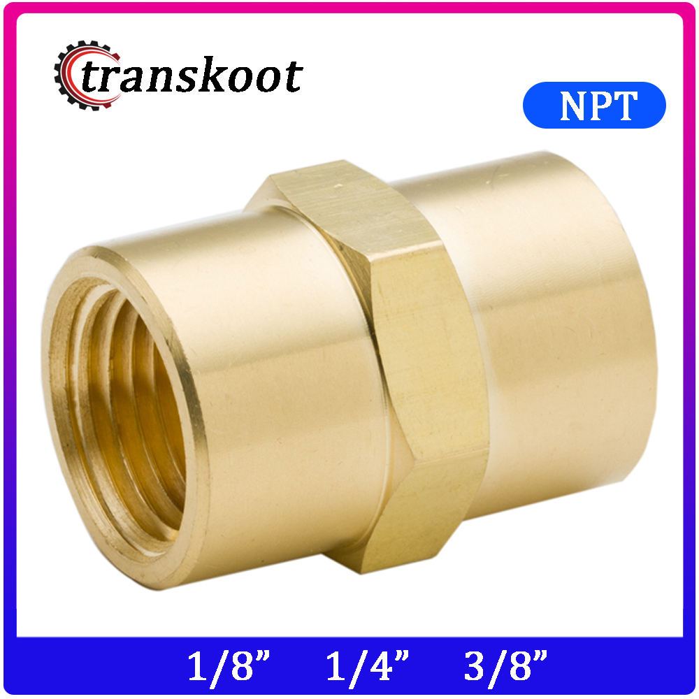 3300 2pcs Brass Copper Hose Pipe Fitting Hex Coupling Coupler Fast Connetor With NPT Female Thread 1/8