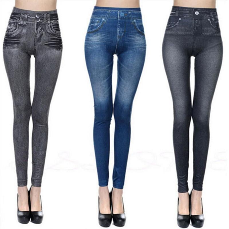 Fashion Slim Women   Leggings   Faux Denim Jeans   Leggings   Sexy Long Pocket Printing Summer   Leggings   Casual Pencil Pants dropship