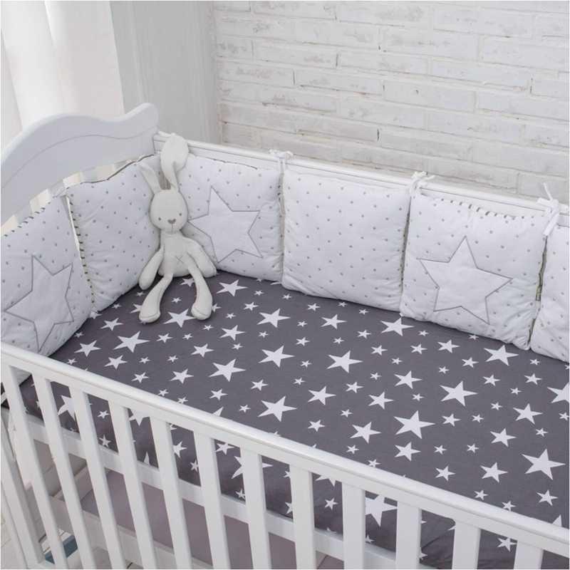 6Pcs תינוק מיטת פגוש קטן בית דפוס עריסה הגנת מיטת תינוק יילוד מצעים מיטת תינוק מצעים