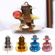 3-Tier Cake Stand And Fruit Plate Round Cupcake Cardboard Stand For Wedding Home Birthday Party Decoration Cake Tools(China)