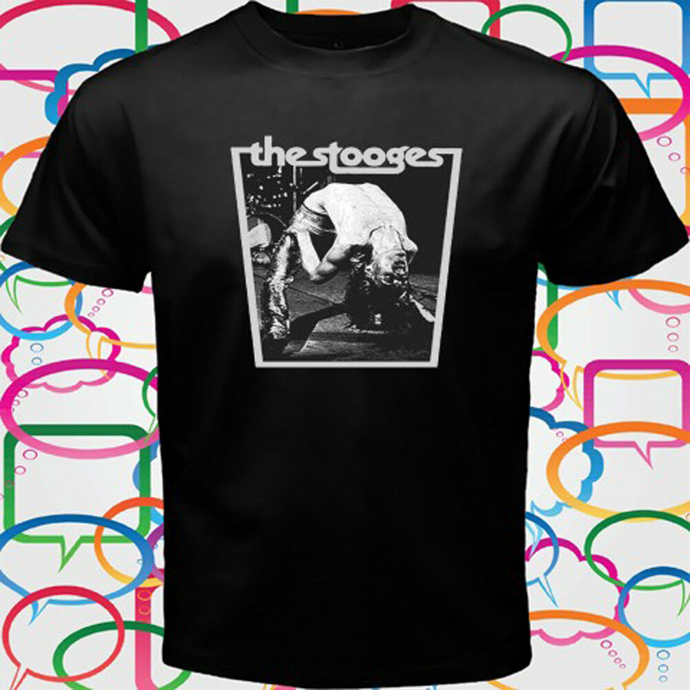 Iggy /& The Stooges T Shirt Wings Band Logo New Official Mens Black