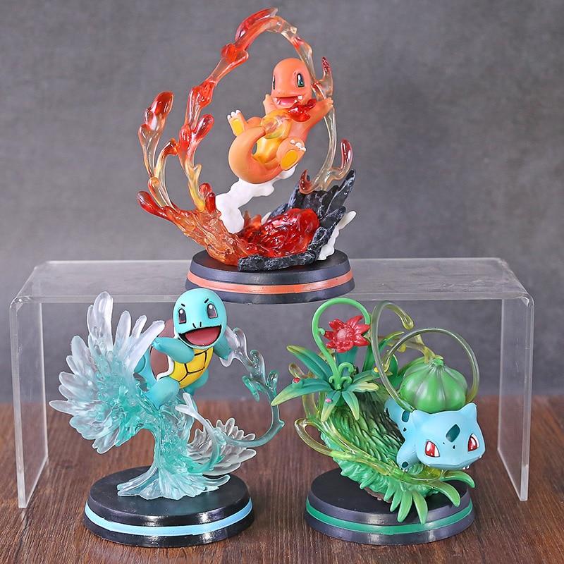 Anime Monster Center Charmander Bulbasaur Squirtle Fighting Ver. PVC Figure Model Toy Figurine Birthday Gift