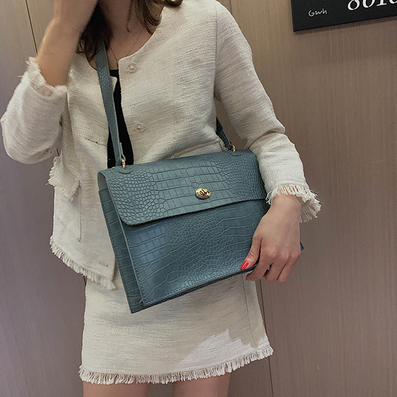Vintage Fashion Female Big Tote New Quality Leather Women's Designer Handbag Crocodile Pattern Ladies Shoulder Messenger Bags