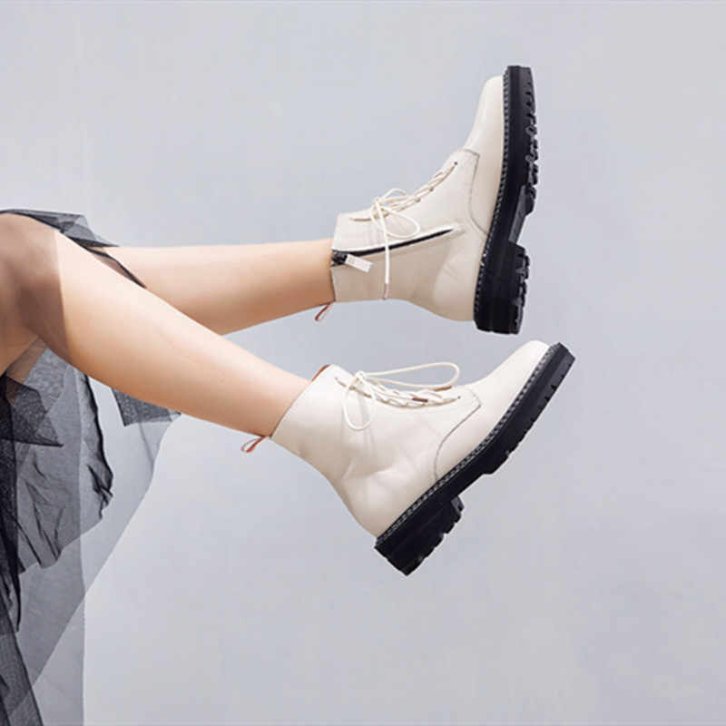 AIYUQI Martin Boots Female 2020 Autumn New Genuine Leather Women Booties Lace Up White winter women shoes
