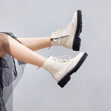 AIYUQI Martin Boots Female 2019 Autumn New Genuine Leather Womens Booties Lace Up White Large Size Martens Woman