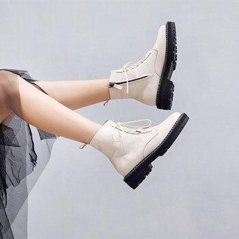 AIYUQI Martin buty damskie 2020 jesień nowe oryginalne skórzane damskie botki zasznurować białe zimowe buty damskie