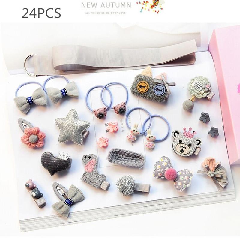 10/18/24 pcs / सेट बच्चों के बाल बाल सामान Headwear के रिबन बाल धनुष बनी बाल क्लिप लड़कियों के लिए