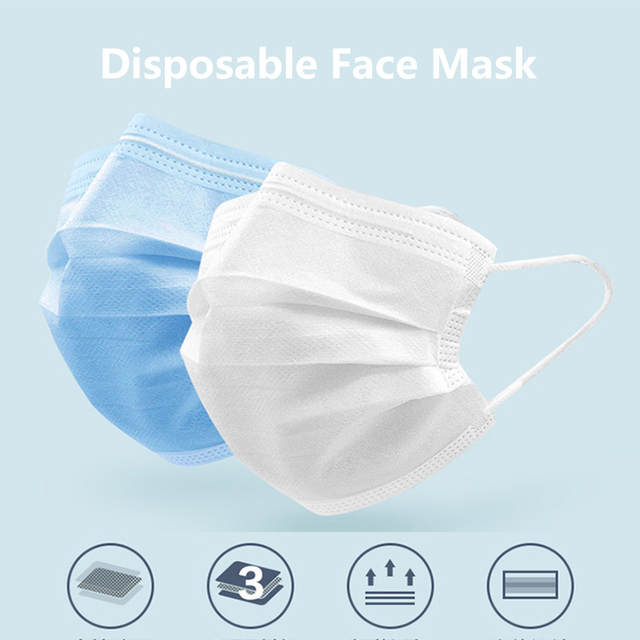 10/50pcs Mouth Mask Adult Cotton Anti Dust Mask Activated Filter 3 Layer Muffle Bacteria Proof Flu Face Masks Instock