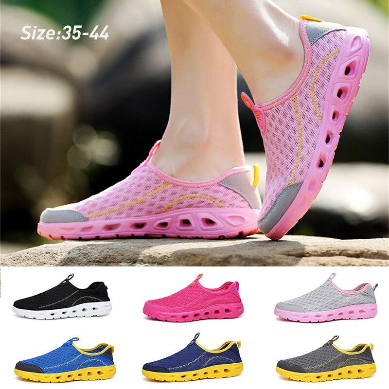 Повседневные сетчатые туфли унисекс, дышащая быстросохнущая Уличная обувь без застежек, с резиновой подошвой, для воды