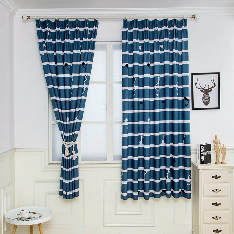 Simple Nordic Style Half Blackout Curtains Musical Romantic Notes Bedroom Living Room Blue  Blackout Cortinas Custom Made Drape