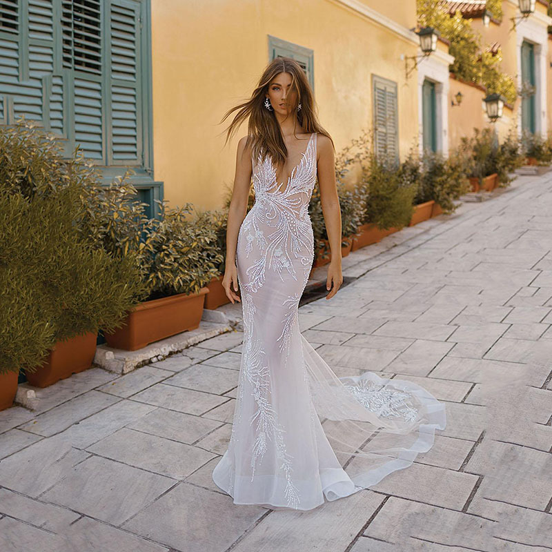 Mermaid Wedding Dresses Sexy V Neck Backless Lace Beaded Beach Wedding Dress Boho Bridal Gowns Vestidos De Novia