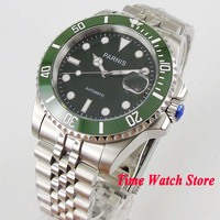 Parnis 40mm Miyota 8215 5ATM automatic wrist watch men sapphire glass waterproof piolet Luminous black dial green ceramic bezel