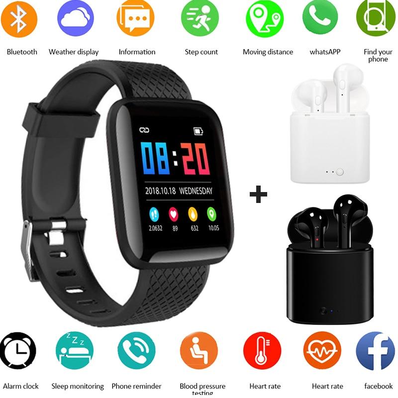 Kids Smart watch 116 plus SmartWatch Heart Rate Tracker Men Sport Bluetooth Wristwatch for IOS Android i7s Bluetooth Earphone