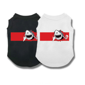 Новая одежда для домашних животных с принтом белой акулы; сезон весна-лето; тонкий жилет с короткими рукавами; футболка; дышащая удобная оде...