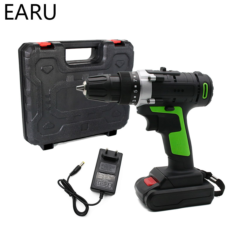 12V 16.8V 21V Max Wireless Rechargeable Electric Screwdriver Cordless Drill Mini Power DriverDC Lithium-Ion Battery 2-Speed Tool