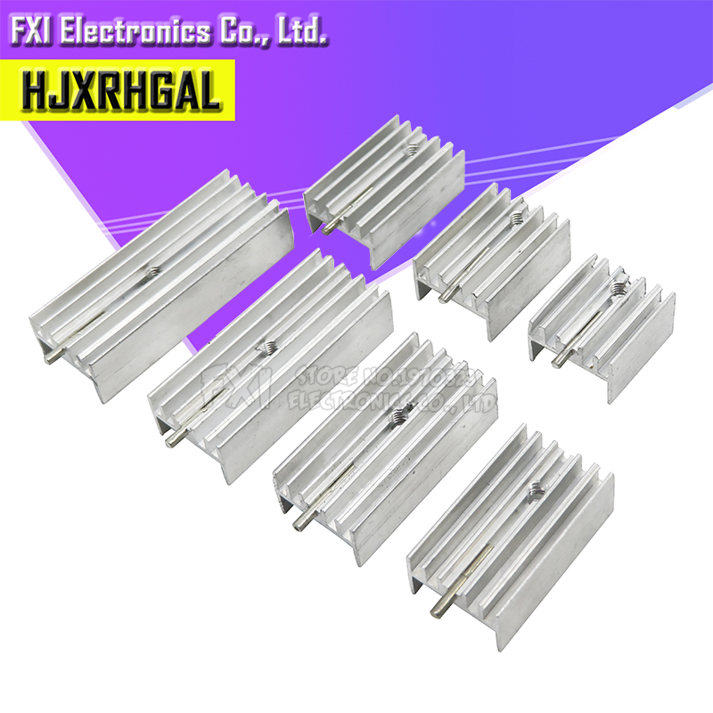 10Pcs 15*10*16/20/22/25/30/35/40/50 Transistor TO220 Heatsink Radiator With Needle hjxrhgal For Transistors TO-220 white