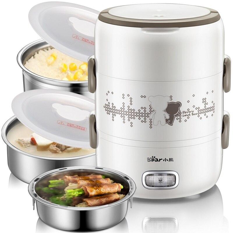 Boîte à déjeuner électrique 2L grande capacité Portable trois couches cuiseur à riz boîte à riz en acier inoxydable cuisson frais travail - 6