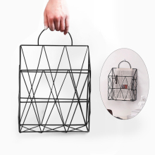 Magazine Newspaper Storage Rack Portable Wall Hanging Storage Basket Net Iron Desk Holder Magazine Newspaper Organizer
