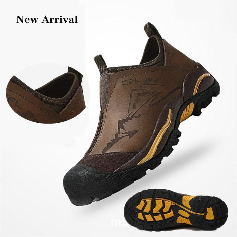 Real Leather Shoes Trekking Hiking Rock Reef City Street Walking Non slip Rubber Sole Man Ultralight Travel Men Tactical Boots image